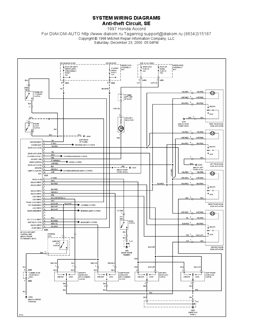 1997 Honda Accord Wiring Diagram Pdf Free Wiring Diagram