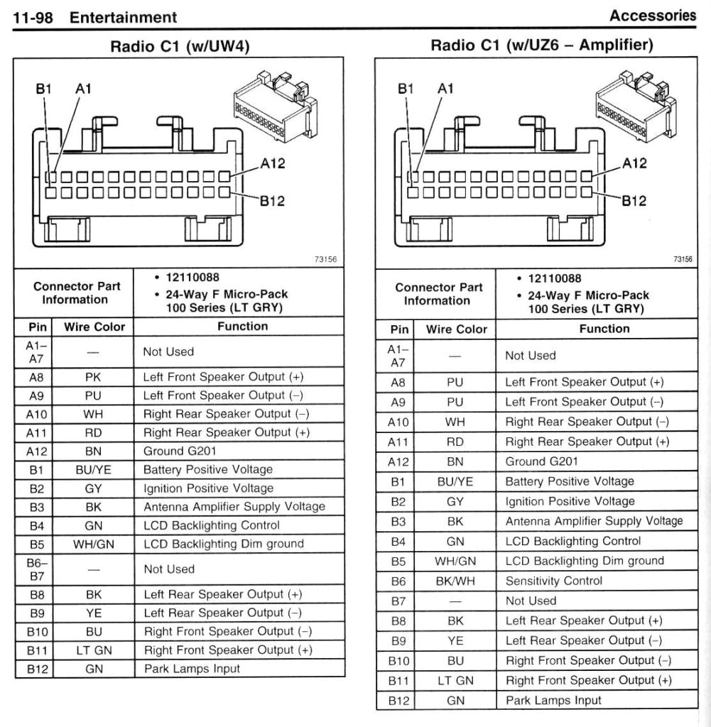 2007 Chevy Silverado Radio Wiring Harness Diagram