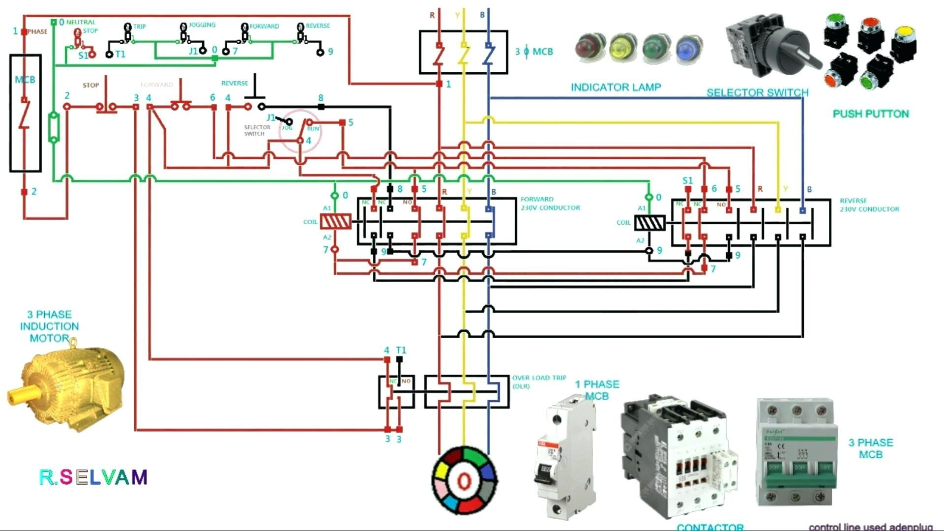 Phase Motor Wiring Diagrams Simple Circuit Diagram Of Contactor on