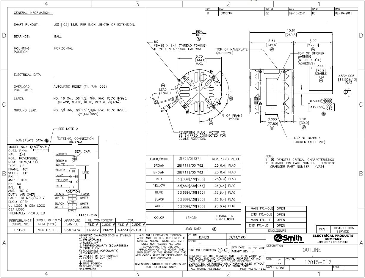 ao smith motor wiring diagram wiring diagram post Ao Smith Fan Motors 326P134
