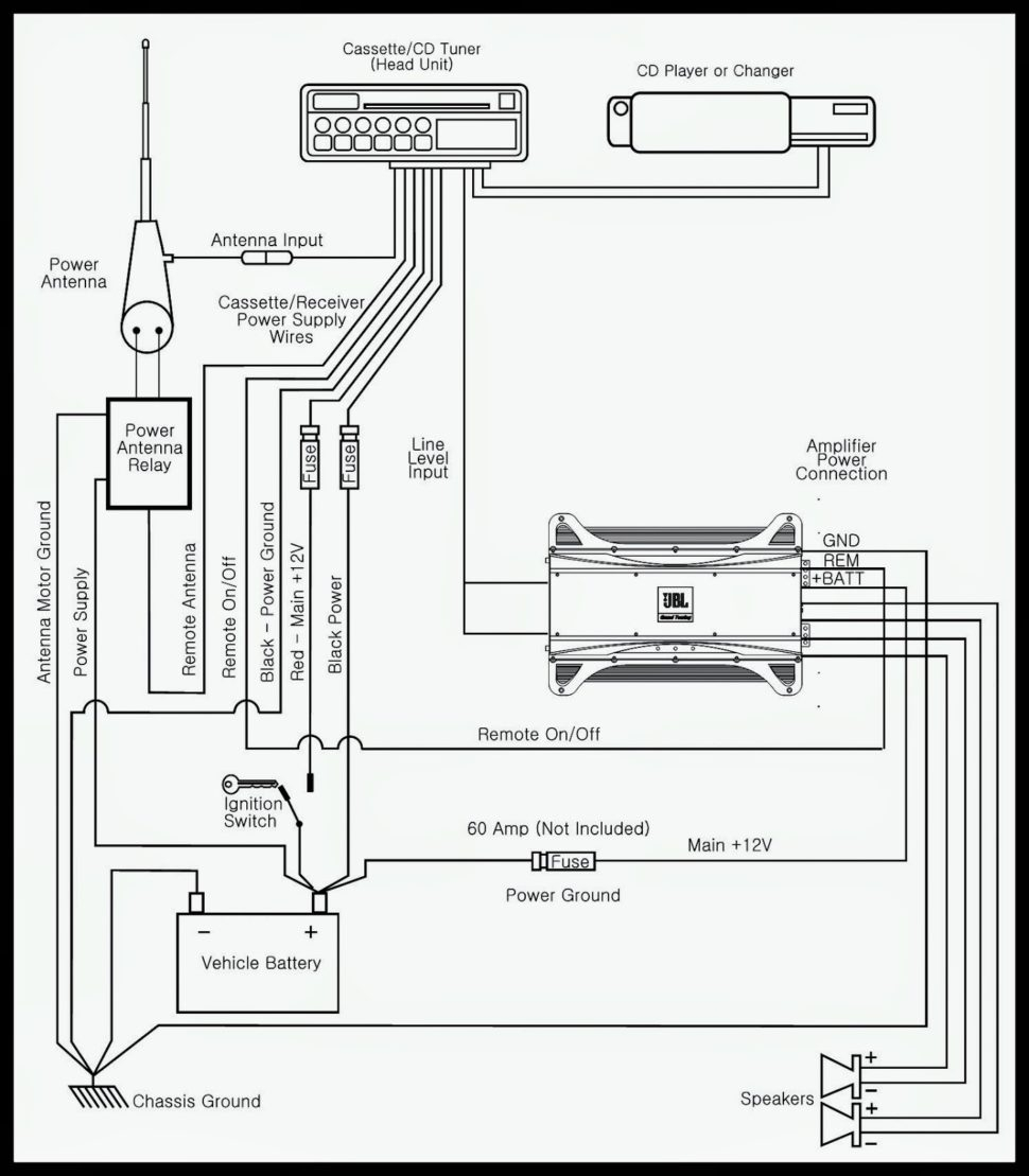 car audio wiring diagram - jbl car audio wiring diagram installation  circuit with amp power light