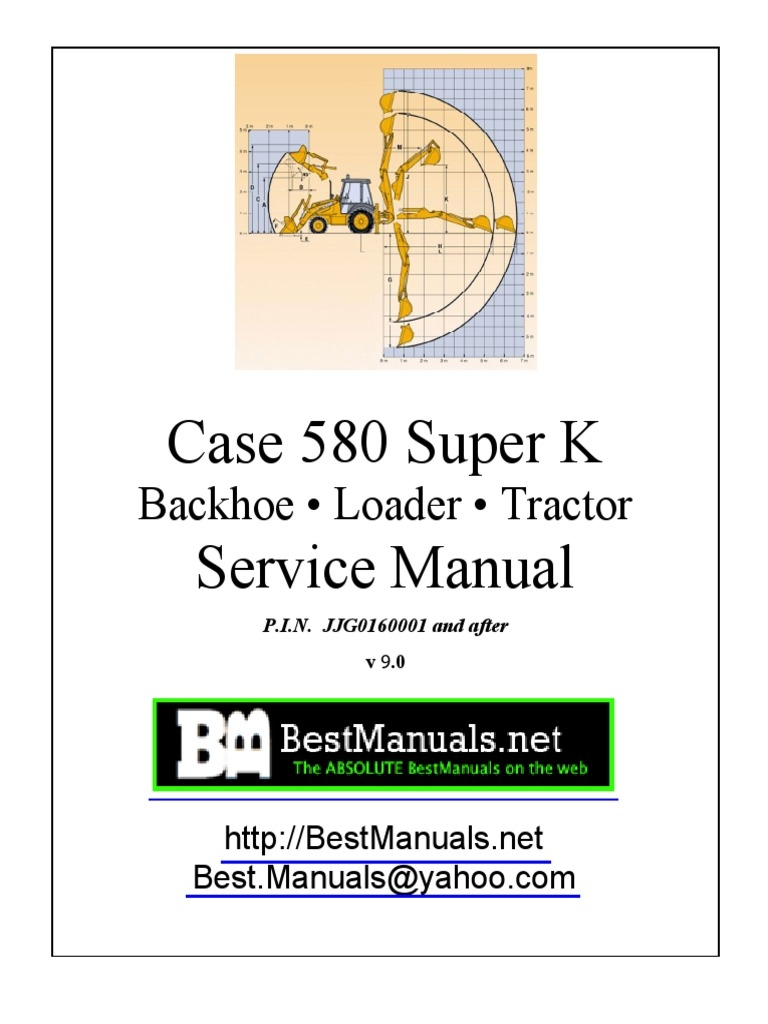case 580k tractor loader backhoe service manual sn 0 jjg0019999