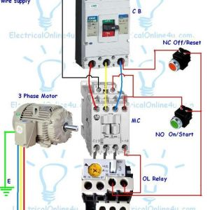 Contactor Wiring Diagram Start Stop - Electrical Contactor Wiring Diagram Contactor Wiring Guide for 3 Phase Motor with Circuit Breaker Overload 17h