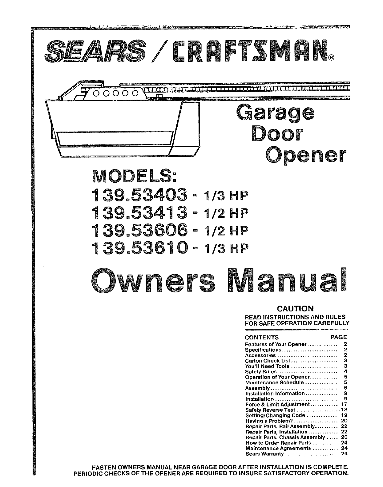 craftsman 1 2 hp garage door opener wiring diagram Collection-139 5361 OD 139 1 2-i