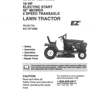Craftsman Lawn Mower Model 917 Wiring Diagram - Craftsman Riding Lawn Mower Parts In Lt2000 Wiring Diagram 9 14p