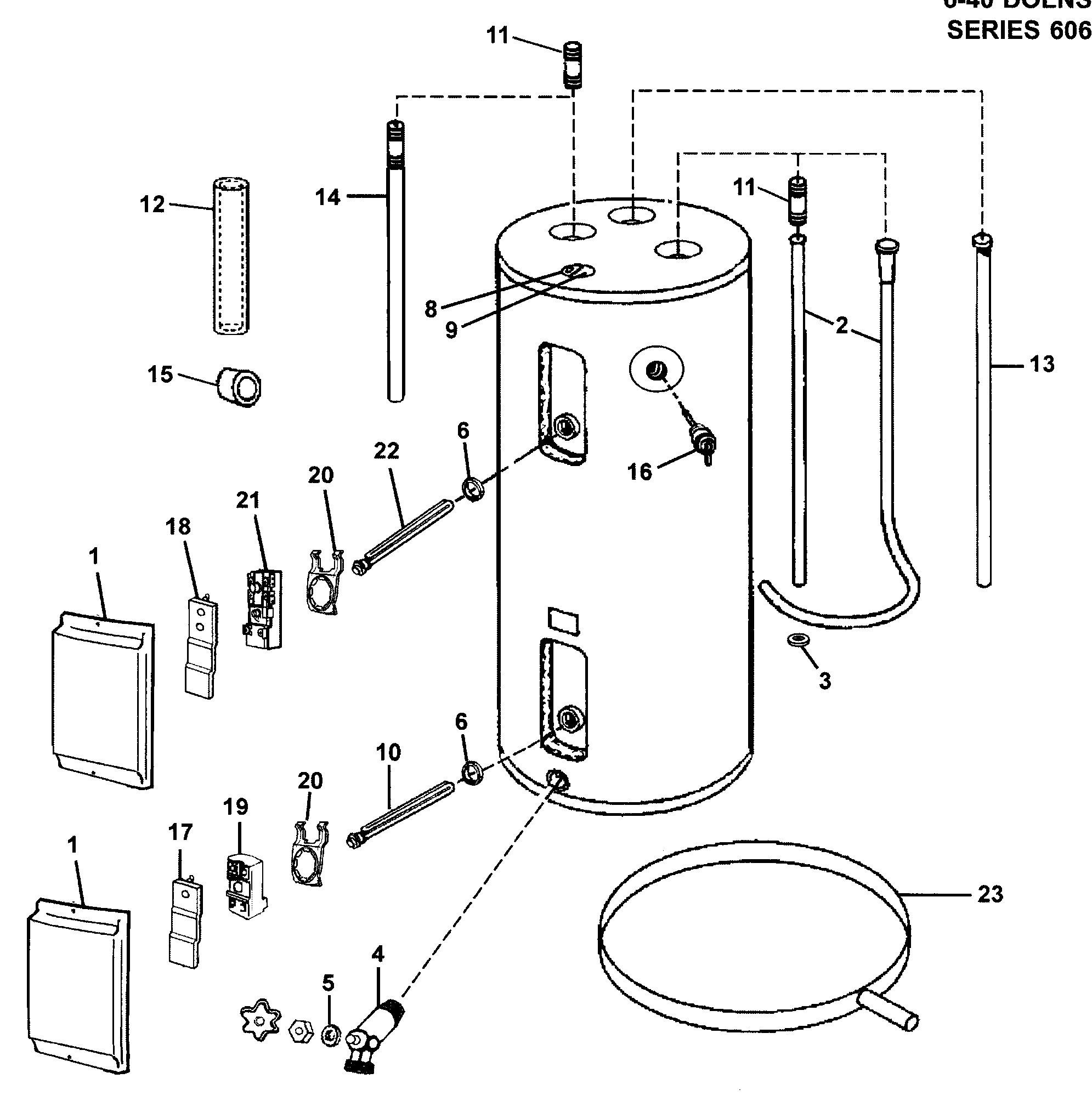 Schéma de câblage du chauffe-eau électrique Schéma de montage et de câblage Chauffe-eau électrique Pièces neuves du chauffe-eau électrique Schéma 15-p