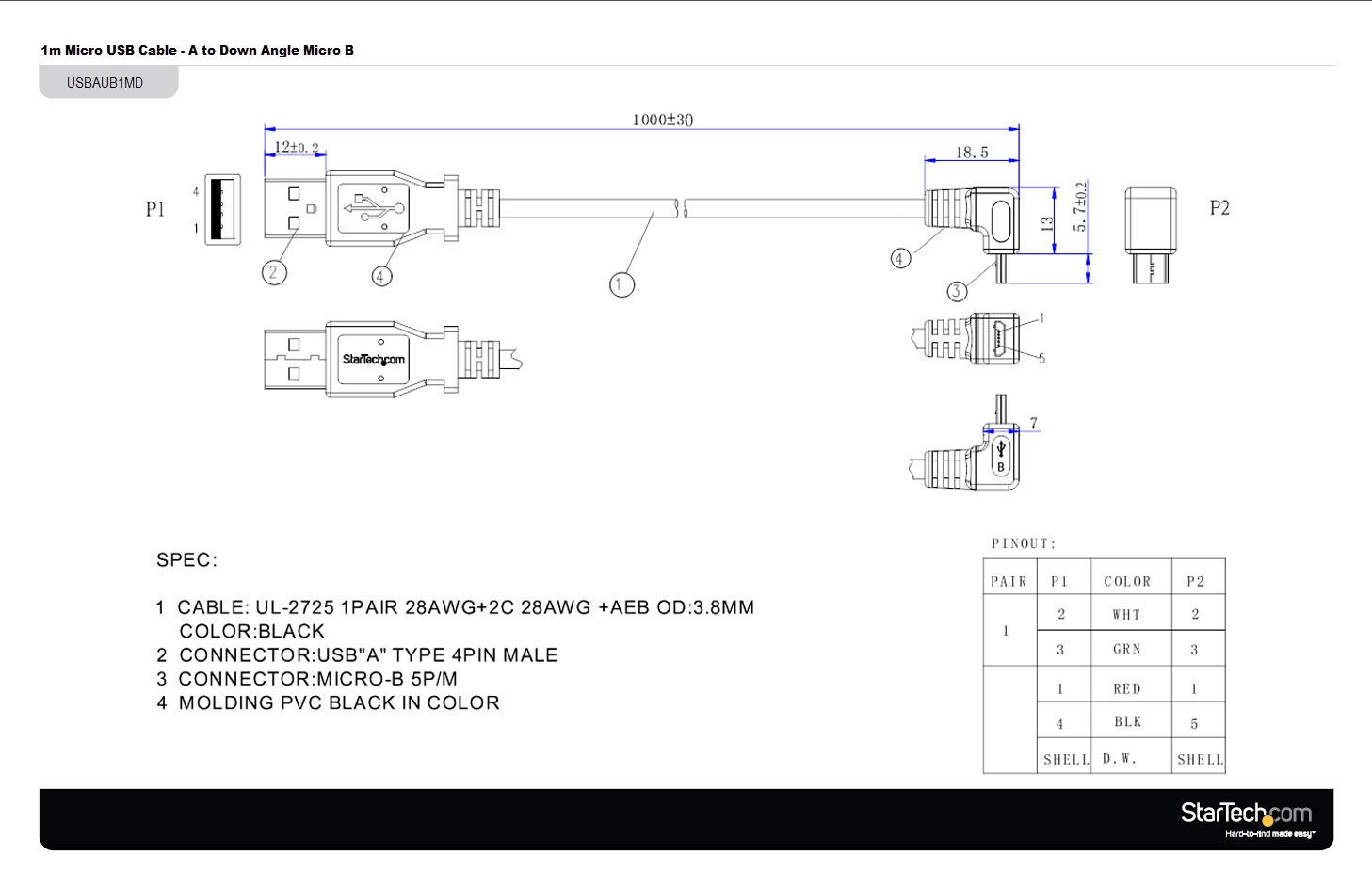 guard dog rb 122 e wiring diagram Download-Usb to Cat5 Wiring Diagram New 1m Usb to Down Angle Micro Usb Cable Apc 19-d