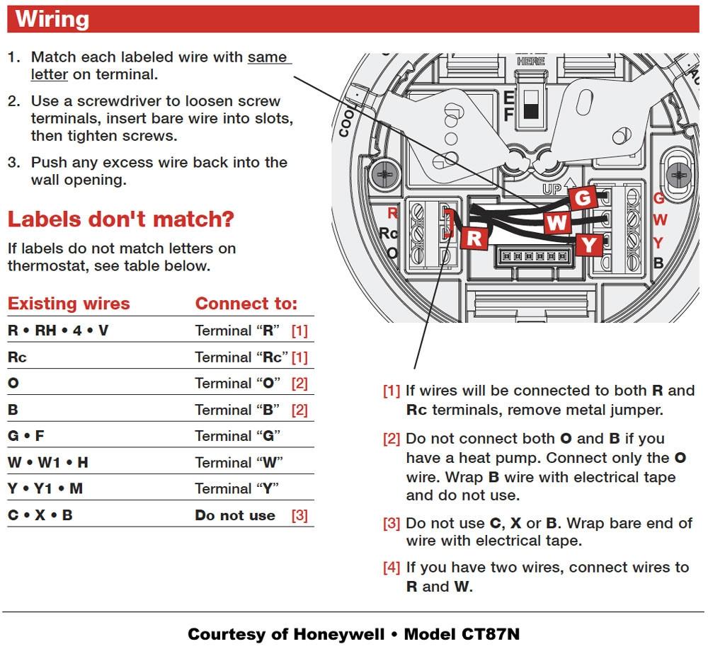 Honeywell Thermostat Wiring Schematic