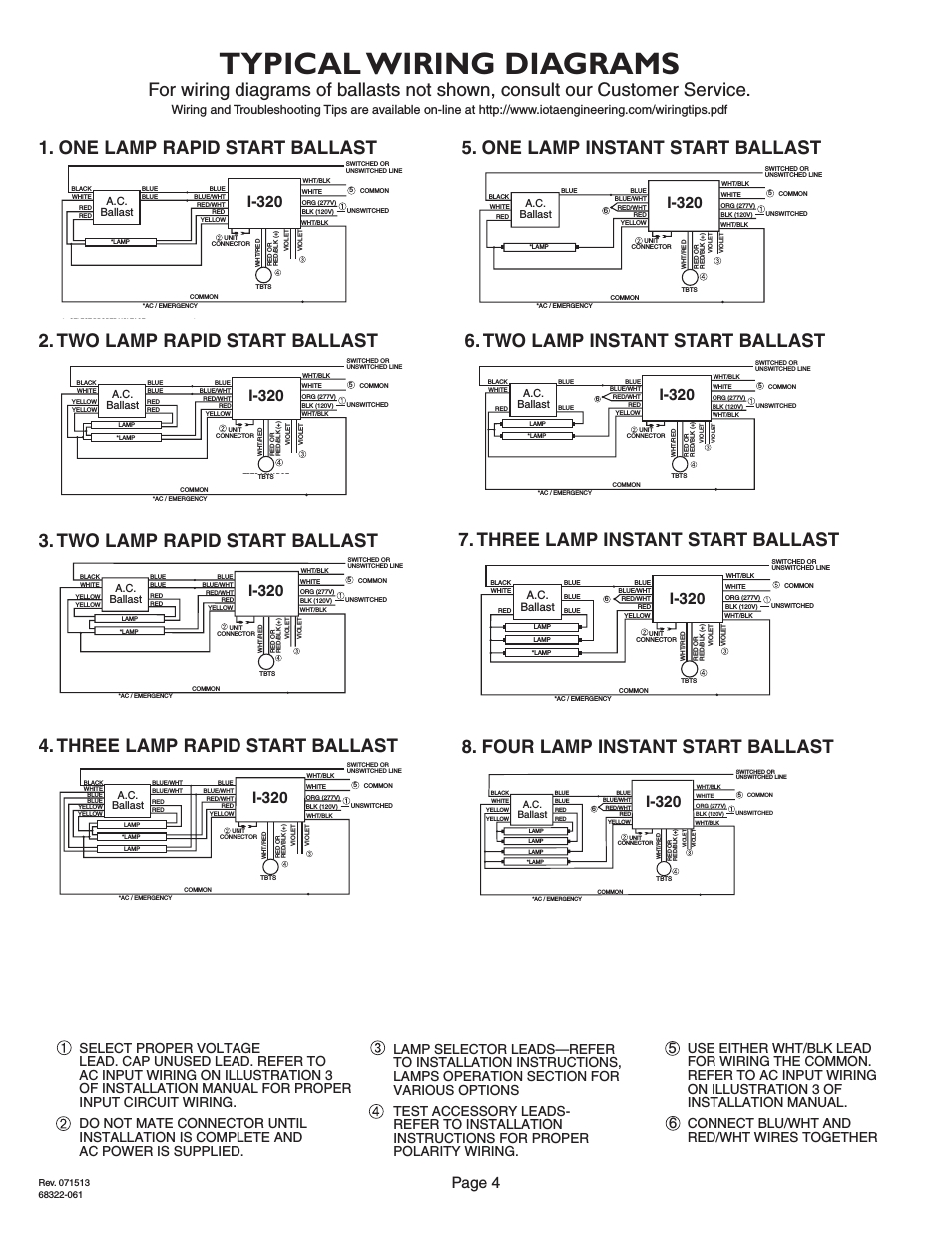 Iota I320 Emergency Ballast Wiring Diagram