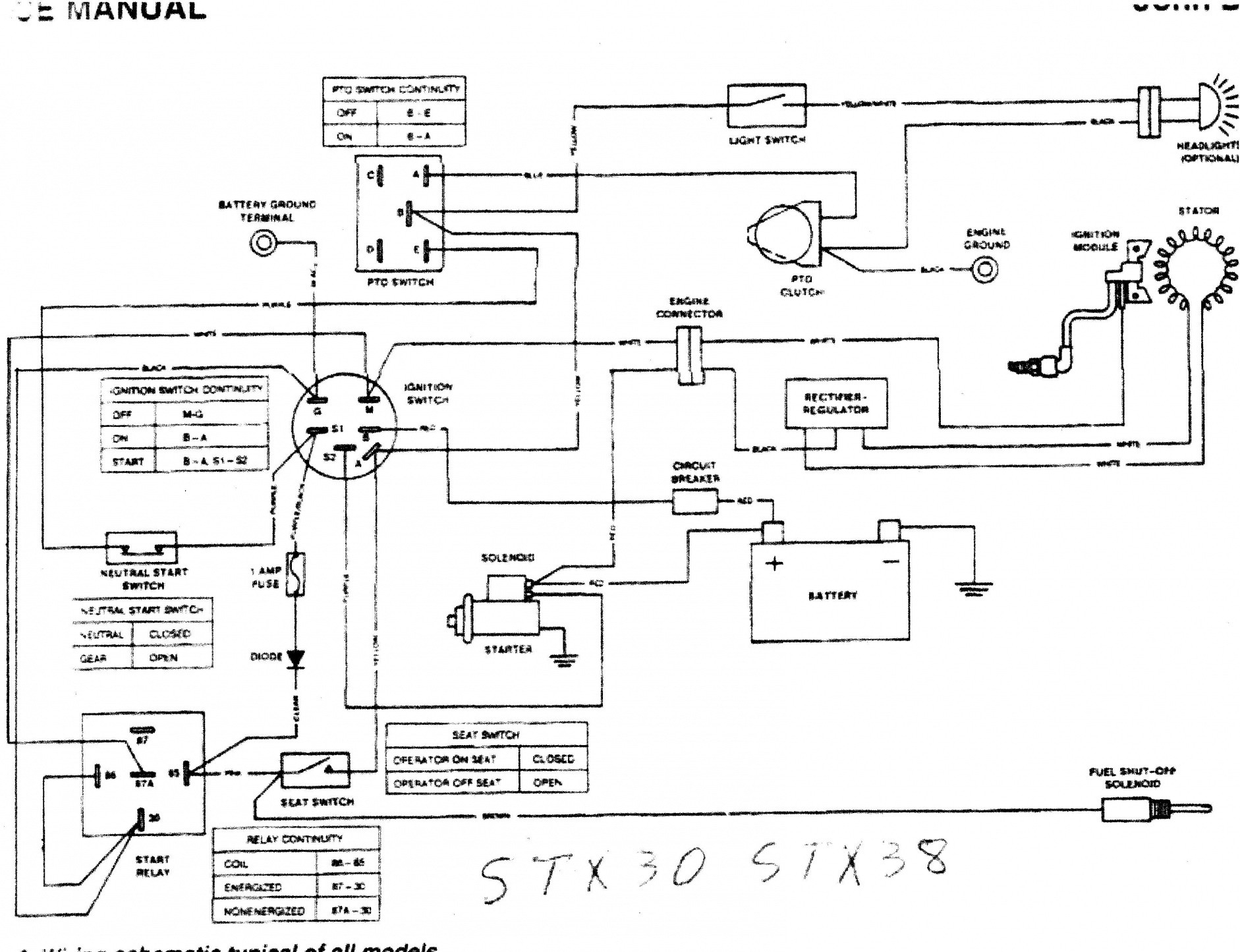 wiring diagram for stx38 john deere wiring diagram for 1020 john deere