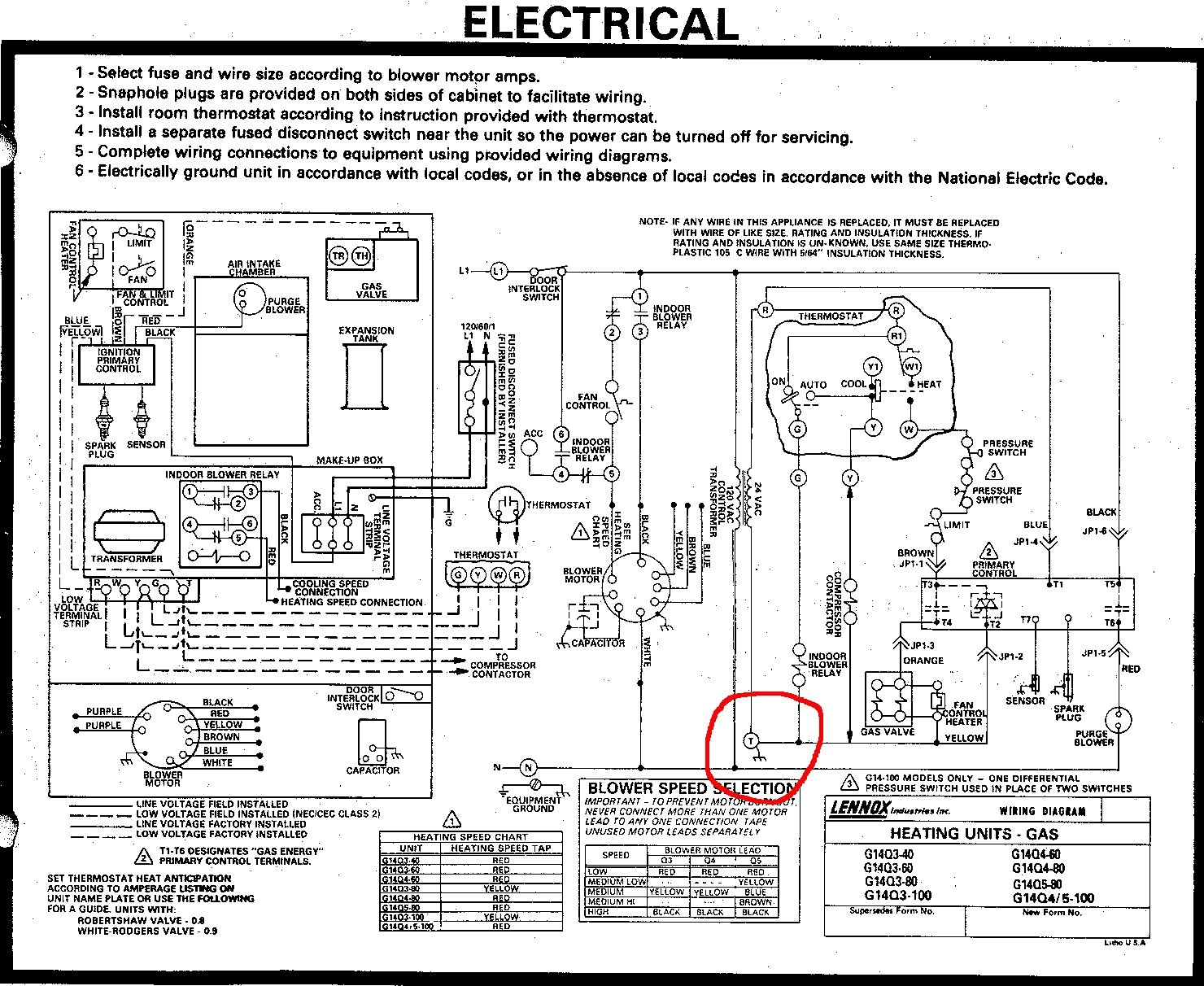 Old Lennox Gas Furnace Wiring Diagram