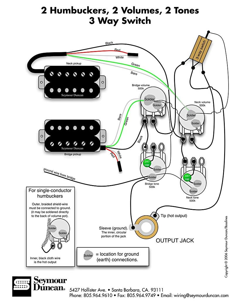 les paul studio wiring diagram Collection-Wiring Diagram for 2 humbuckers 2 tone 2 volume 3 way switch i e traditional LP set up find more at wiring diagrams 7-k