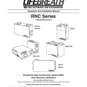 Lifebreath Hrv Wiring Diagram - Rnc Series Operation and Installation Manual Residential New Construction Series Rnc 1a