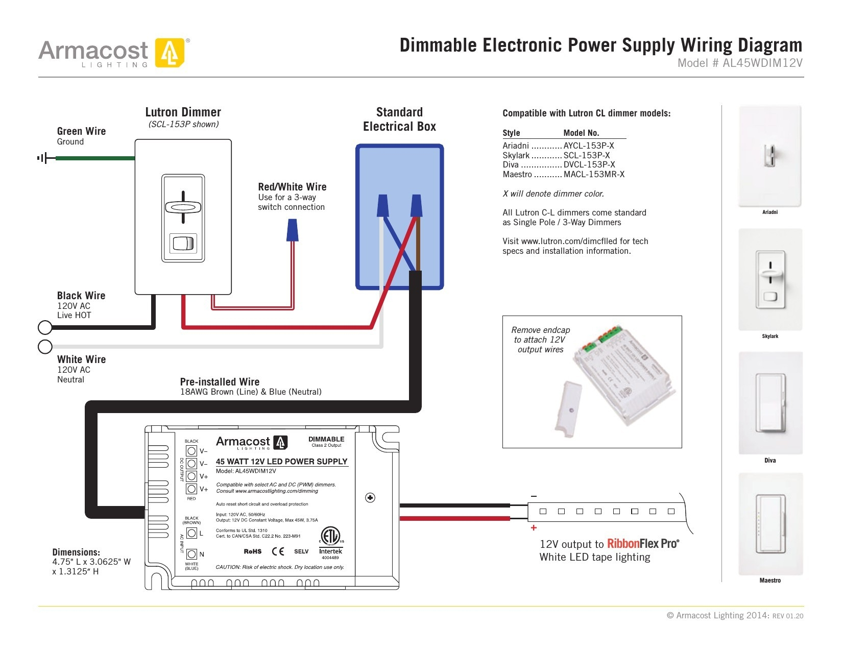 Lutron Maestro 3 Way Dimmer Wiring Diagram