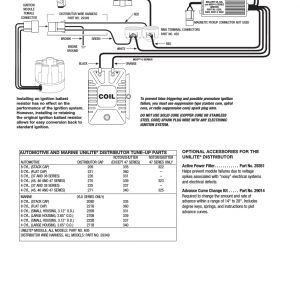 Mallory Ignition Wiring Diagram - Coil Mallory Ignition Mallory Unilite Distributor 37 38 45 47 User Manual 12g