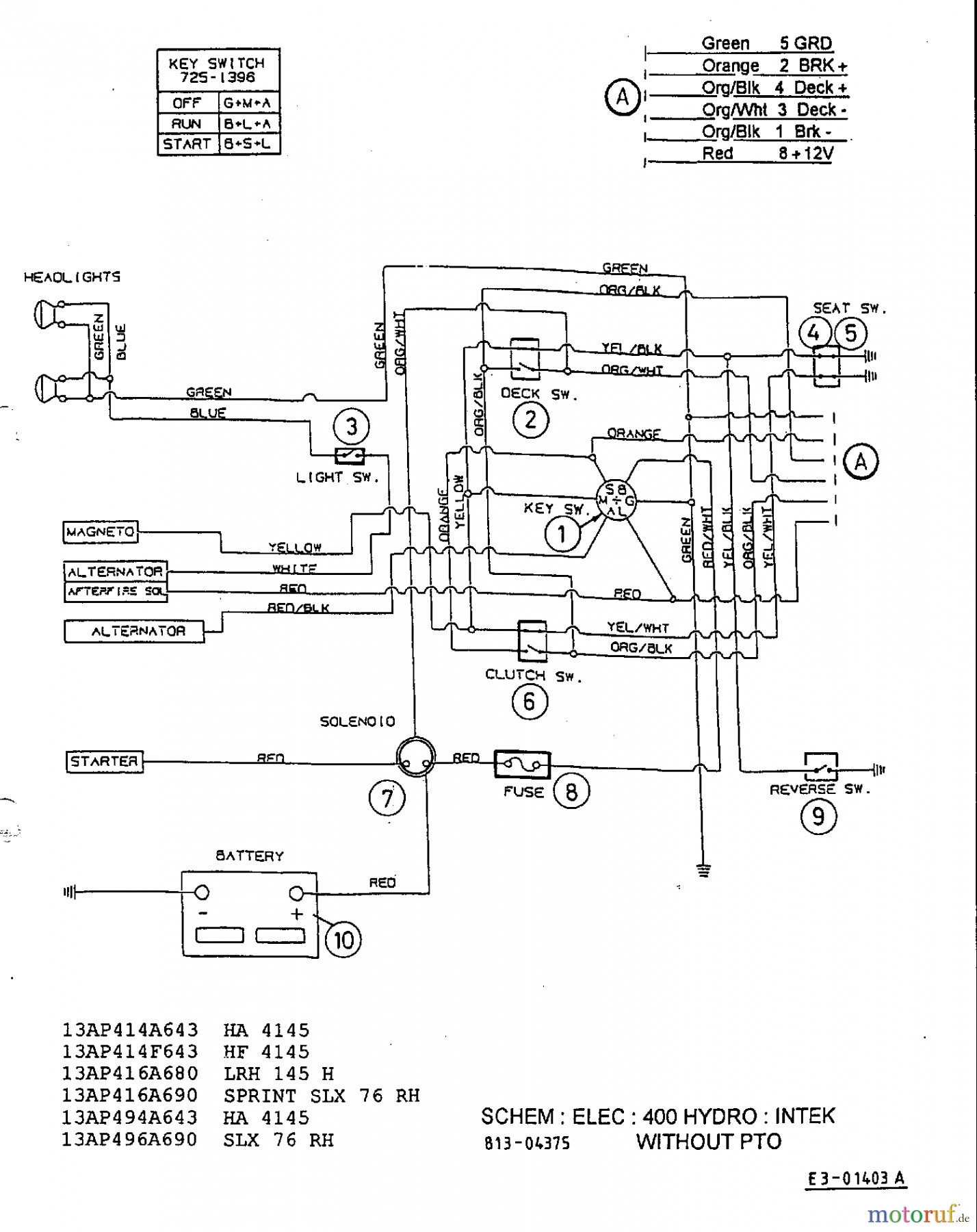wire diagram mtd 13aq673g120 mtd huskee 20 hp wire diagram