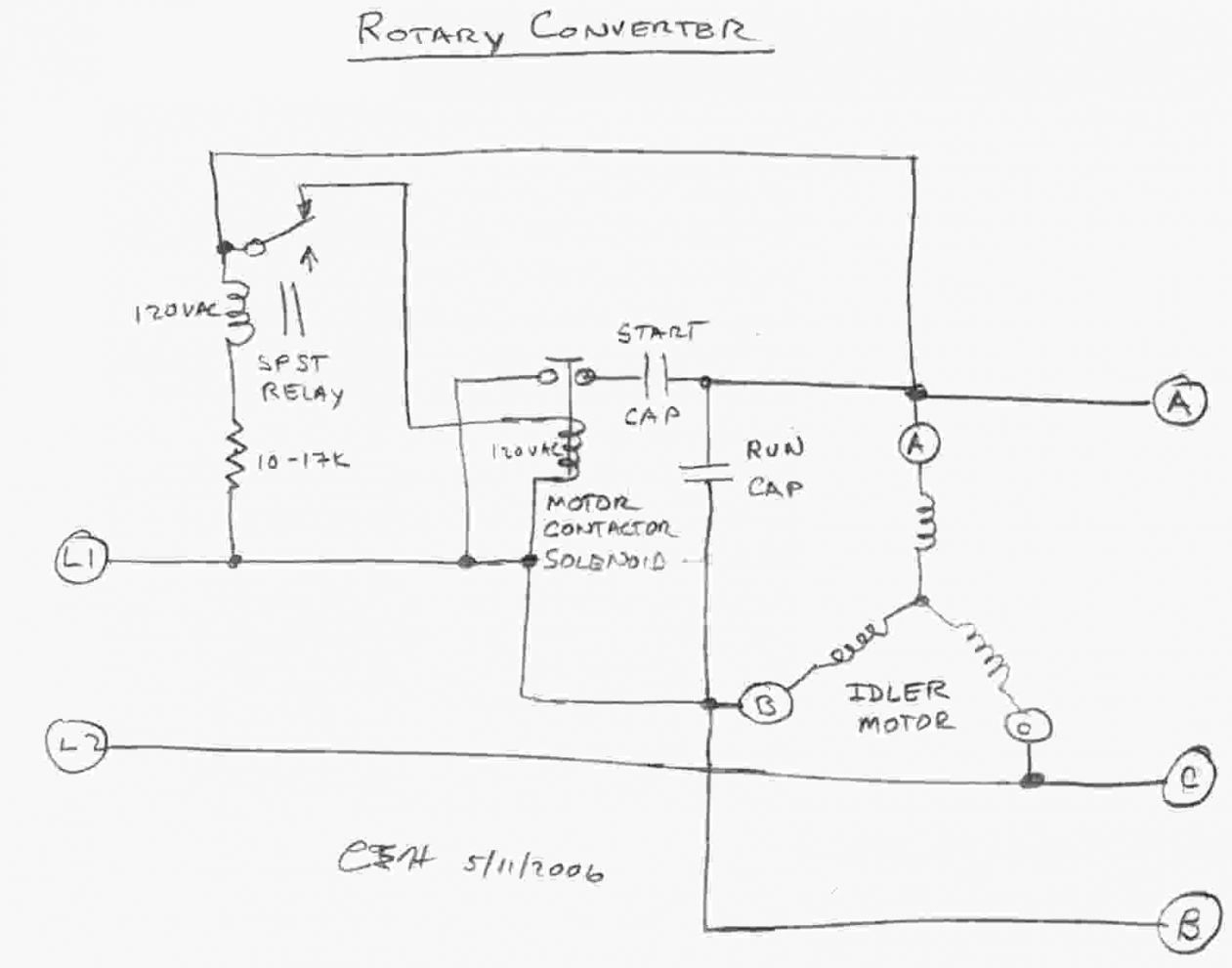 Rotary Phase Converter Wiring Diagram Free Three Pump Elegant Single Motor With Capacitor Unique