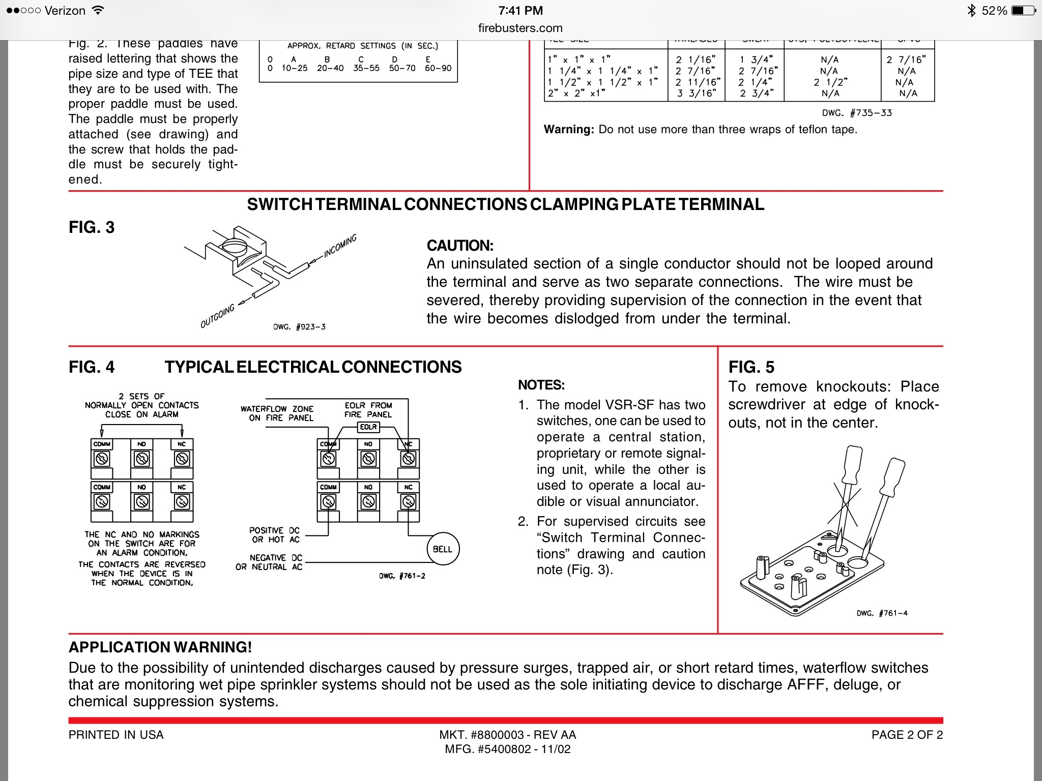 Sprinkler Flow Switch Wiring Diagram