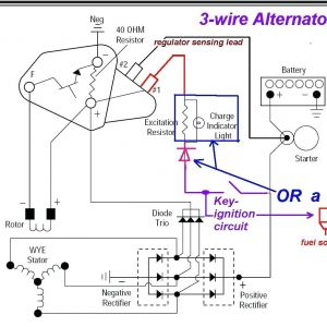 Three Wire Alternator Wiring Diagram - 3 Wire Alternator Wiring Diagram 24v Dc Regulator Seaboard Marine Beauteous Delco 10si 12e