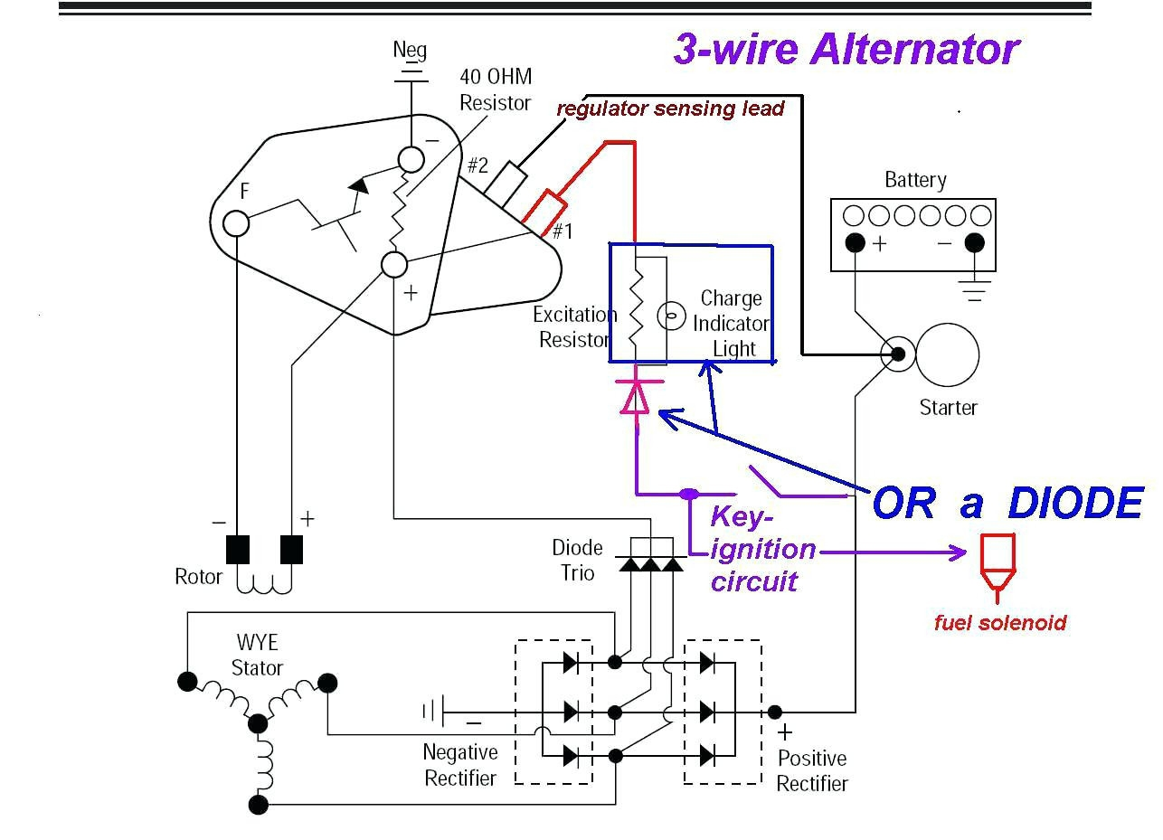 three wire alternator wiring diagram | free wiring diagram 351 ford marine alternator wiring diagram
