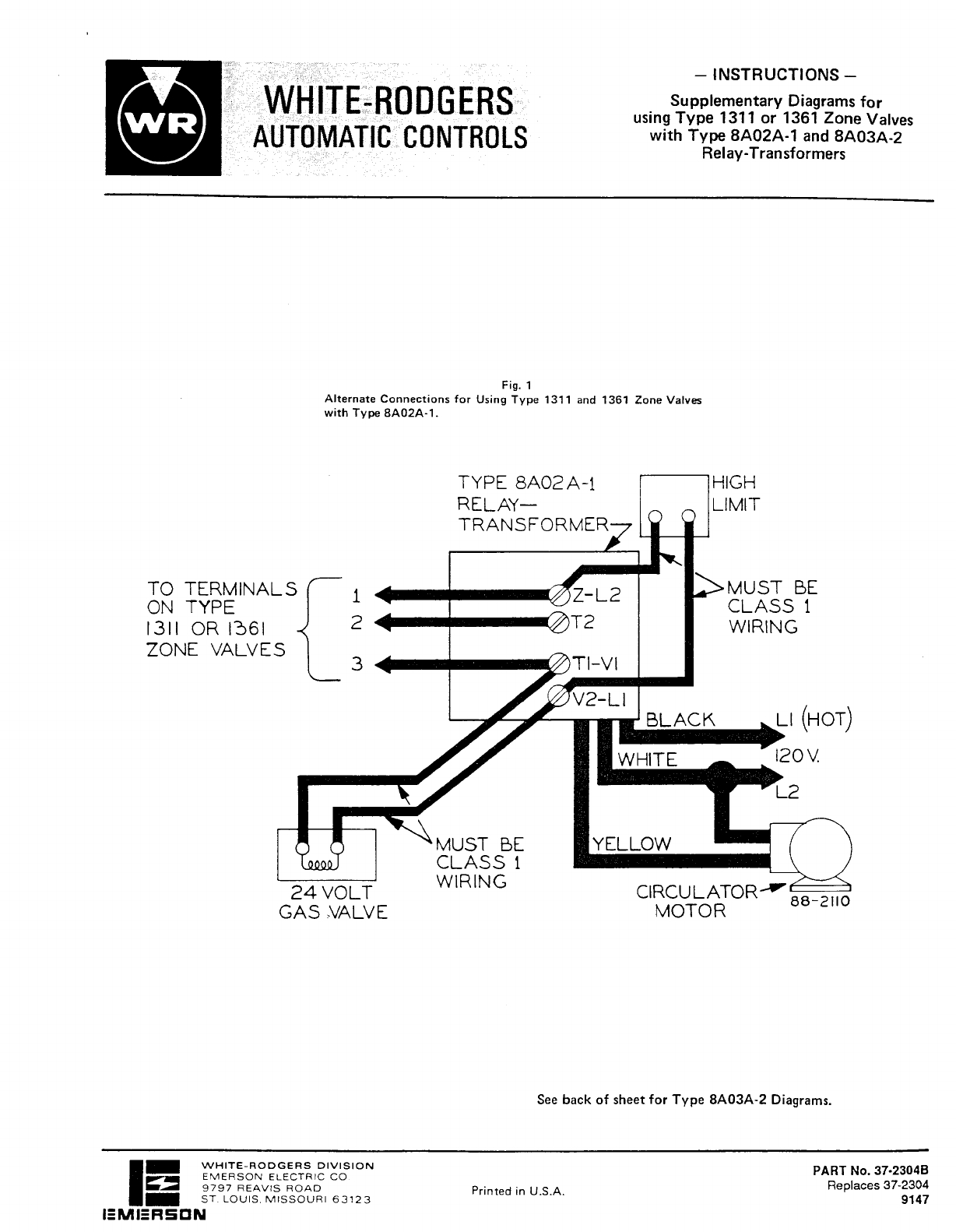 White Rodgers 1311 102 Wiring Diagram